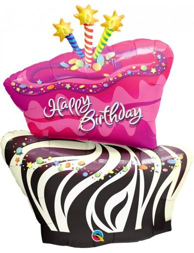 Birthday Funky Zebra Stripe Cake
