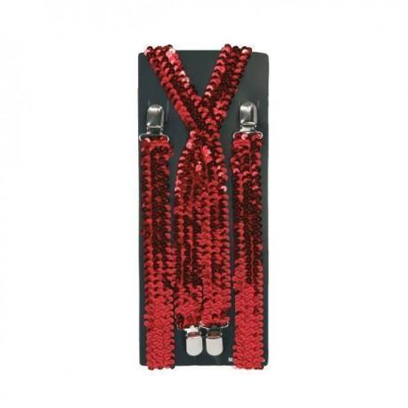 Bretelles rouges brillantes.