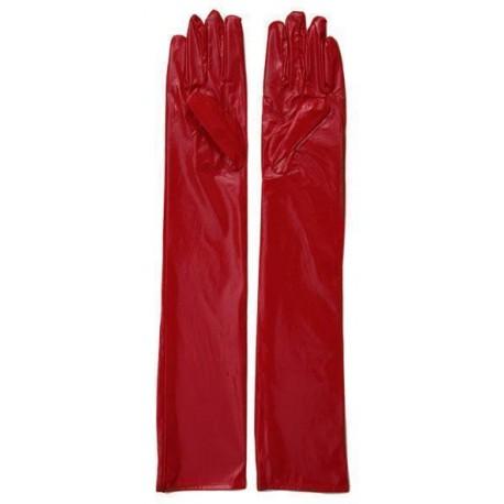 Gants simili rouge