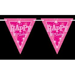 Bannière drapeaux Happy Birthday rose