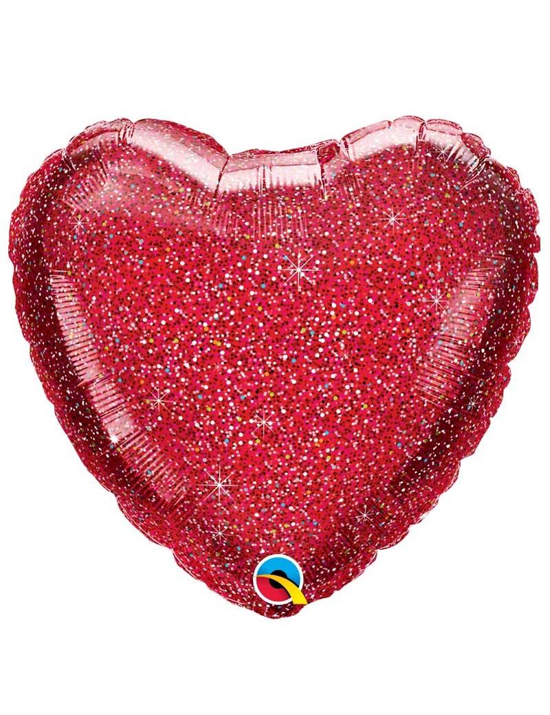 Coeur aluminium Glittergraphic Rouge