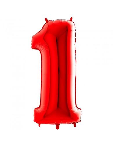 """Chiffre """"1"""" 66 cm rouge"""