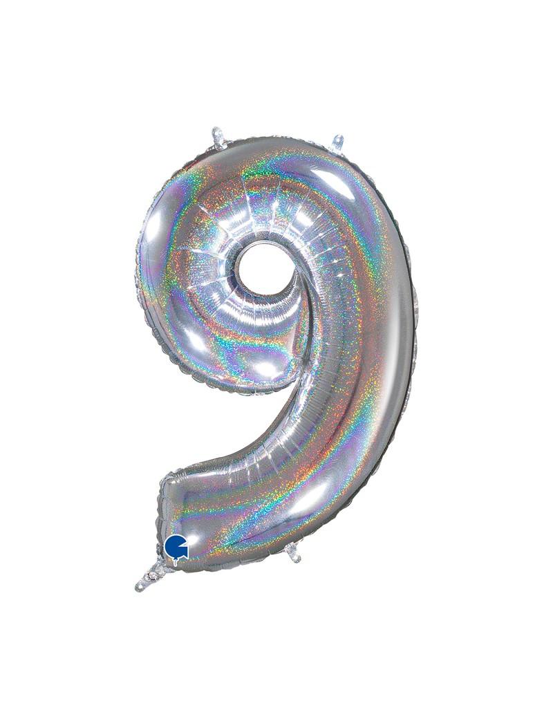 "Chiffre ""9"" 66 cm holographic silver"