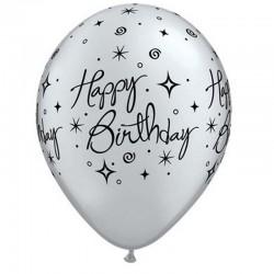 Happy Birthday Silver Elegant Sparkles