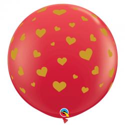 Ballon rouge Coeurs dorés