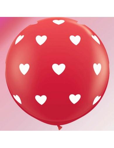 Ballon rouge Coeurs blancs