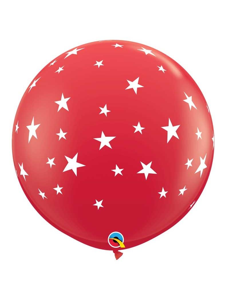 Ballon rouge étoiles blanches