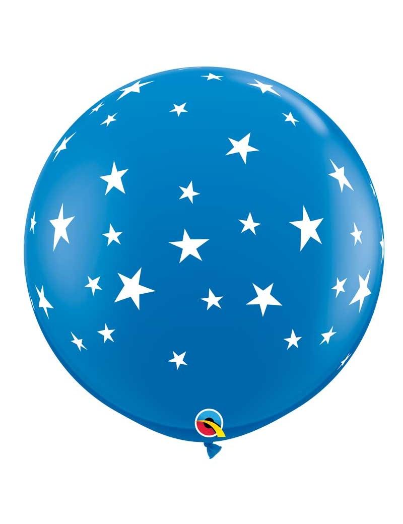Ballon bleu étoiles blanches