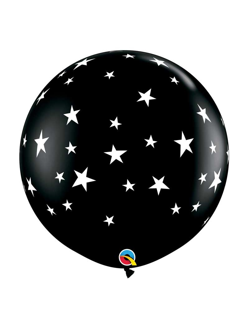 Ballon noir étoiles blanches