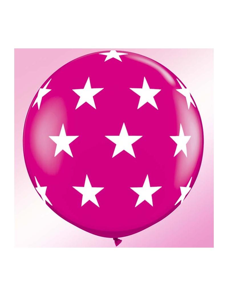 Ballon wild berry grosses étoiles blanches