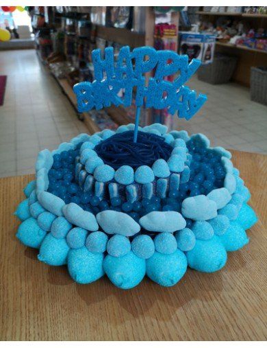 Gâteau de Bonbons bleu Happy Birthday