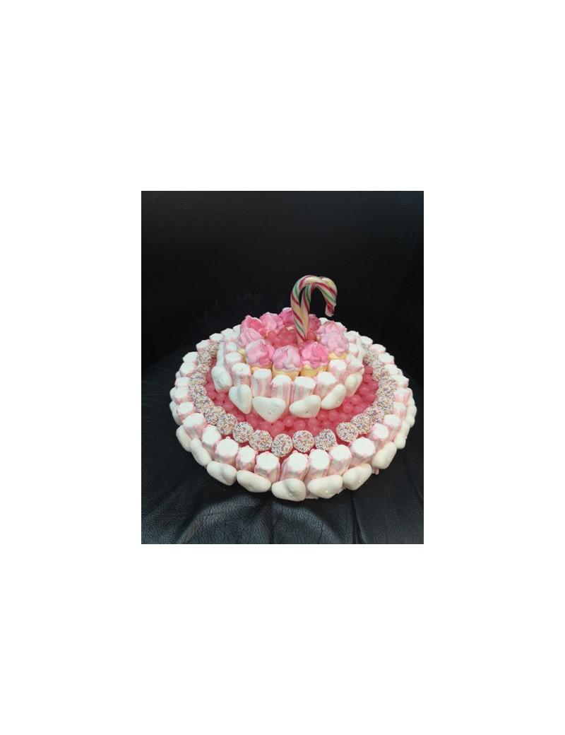 Gâteau de Bonbons rose et blanc