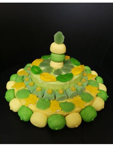 Gâteau de Bonbons vert et jaune