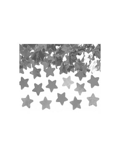 Canon à confettis étoiles argentées 40 cm