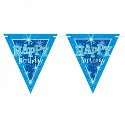 Bannière drapeaux Happy Birthday bleu